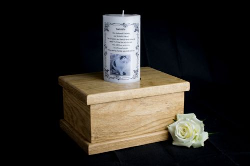 Solid Oak Casket With Personalised Remembrance Candle (Large)